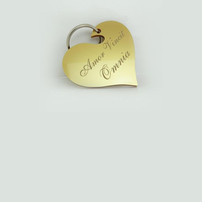 Portachiavi Cuore in Plexiglass Oro con frase Personalizzata